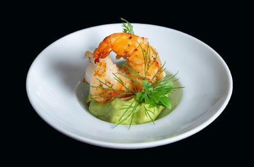 Egers Catering Vorspeise: Garnele mit Avocadocreme